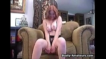 yam-sized-titted ginger gargling her own bumpers.