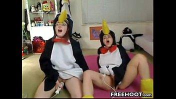 teenager ladies in costumes jerk using.