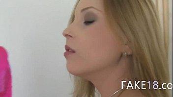 Horny blondie suck fake agent dick