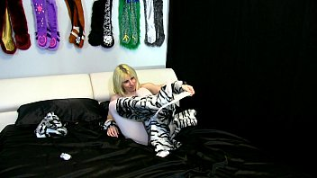 alice in milky tiger costume with milky crotchless tights