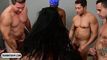 latina t-girl bombshell with xxl breasts group-porked by studs
