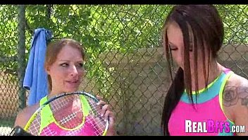 school chicks tennis match turns to.