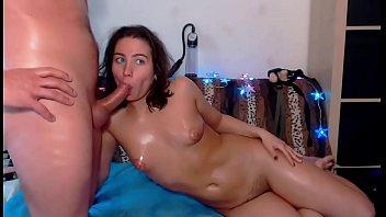 Hot brunette chick gives a great deepthroat blowjob