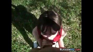 Russian Girl Gives A Blowjob Outside POV
