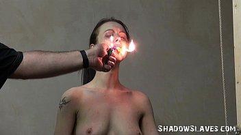 Cruel burning and electro bdsm of tortured slaveslut in extreme dungeon bondage
