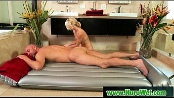 thick-boobed japanese masseuse gives nuru rubdown and smashes.