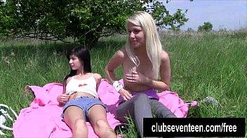 Lesbian teens masturbating outdoors
