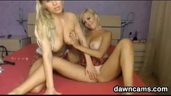 fantastic light-haired lesbos toying live