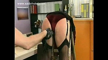 cougar assistant victim is spanked in de office.