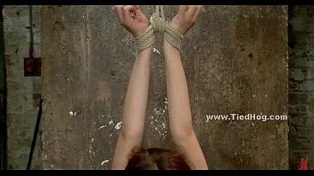 red-haired with gigantic jugs hanged in sadism & s/m