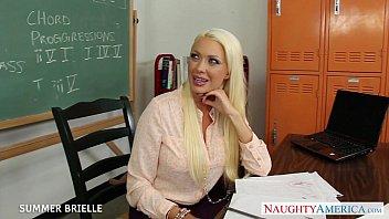 Blonde teacher Summer Brielle fuck in classroom