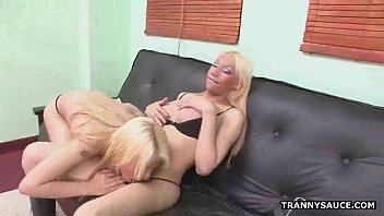 Foxy blonde shemale sucking on a tranny babes cock