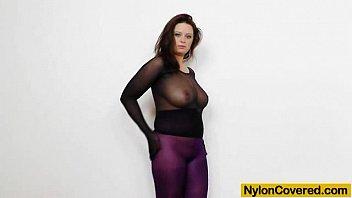 Huge titties cutie in nylon mask and full body nylon suit