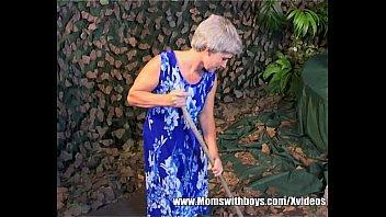 grey haired slender grandmother elderly vulva.
