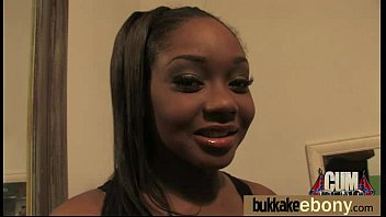 jaw-dropping black gal fellates milky rods and group.