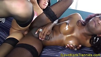 bigcock ebony she-creature facialized in twosome