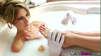 milk bathing girl-on-girl rump