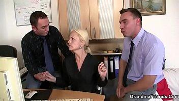 Granny swallows two cocks at job interview