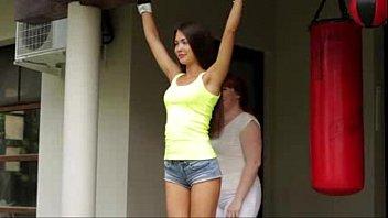 supah-hot woman roped forearms up flashing.