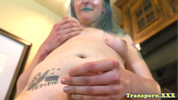 round trans tugs on her pecker.