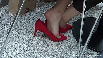 candid shoeplay hostess fair 00173