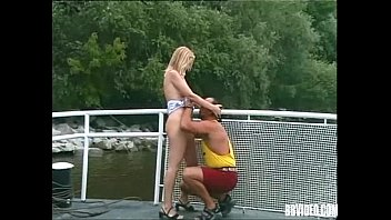 Blonde German babe suck and fuck cock outdoors