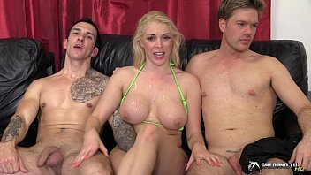 supah-hot blondie group-smashed in her living.