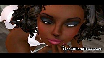 3 dimensional toon black stunner uses her funbags.
