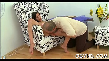 Nice-looking young gal fucked by old lad