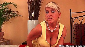 granny renata with her suspending massive brassiere-stuffers is.