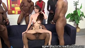 interracial group pulverize for this mega-bitch